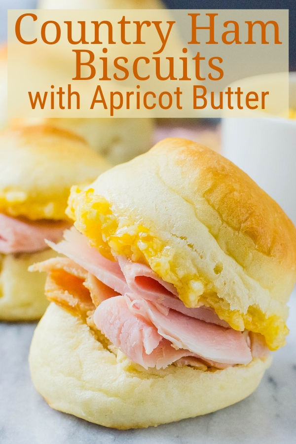 Country Ham Biscuits with Apricot Butter are easy buttermilk yeast biscuits that make a lot. Mini biscuits are great for parties, showers & celebrations. #hambiscuits #yeastrolls
