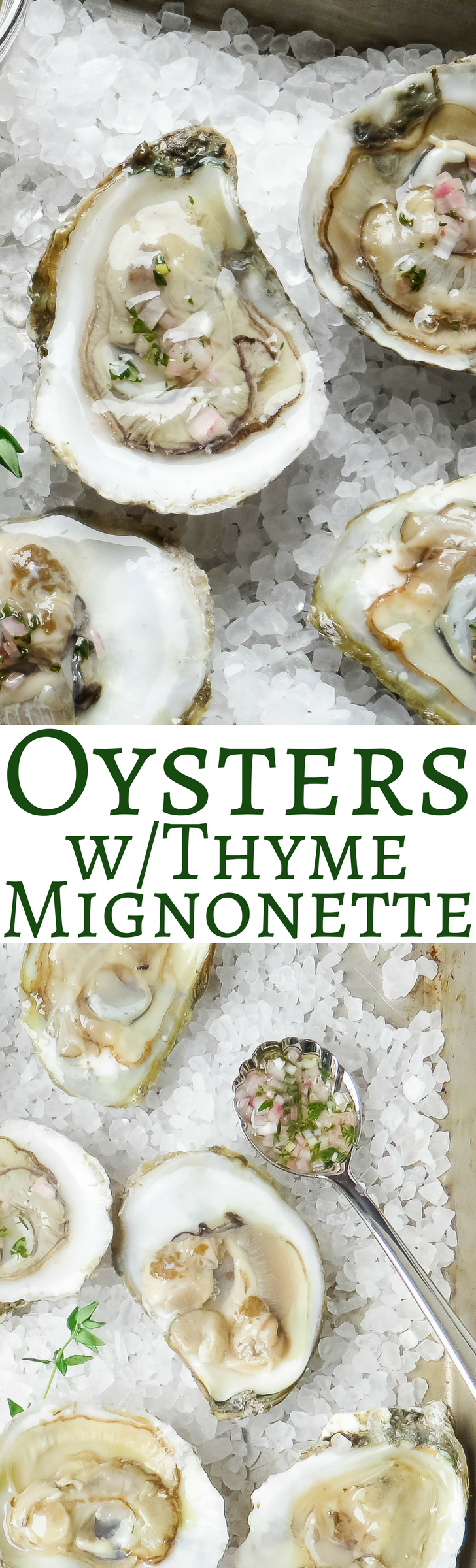 Fresh shucked oysters on the half shell with a light thyme mignonette!