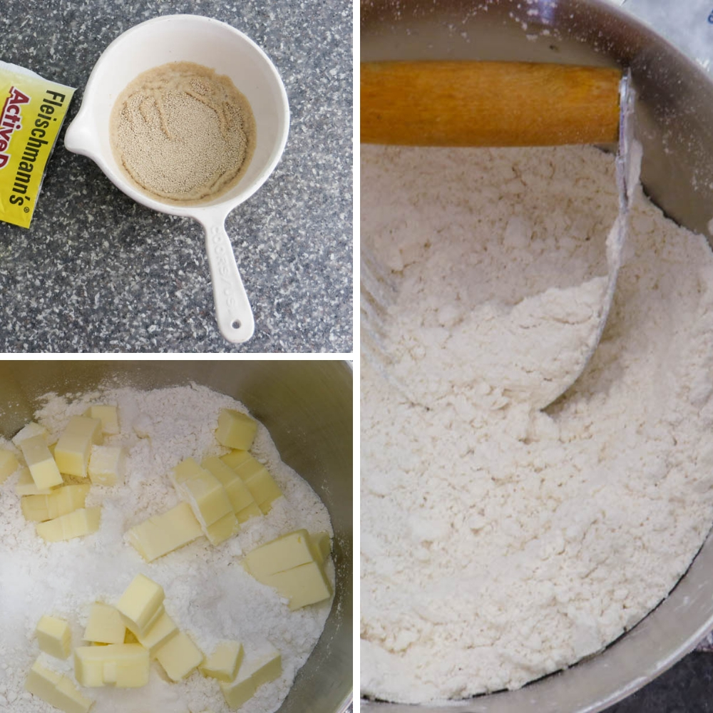 combining the ingredients for buttermilk yeast biscuits