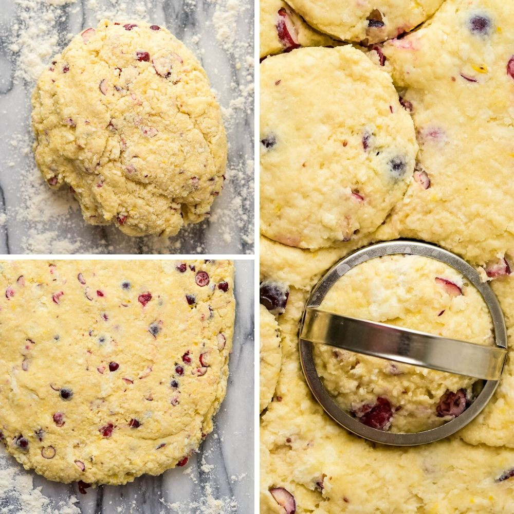 cutting out fruit scones with a biscuit cutter.
