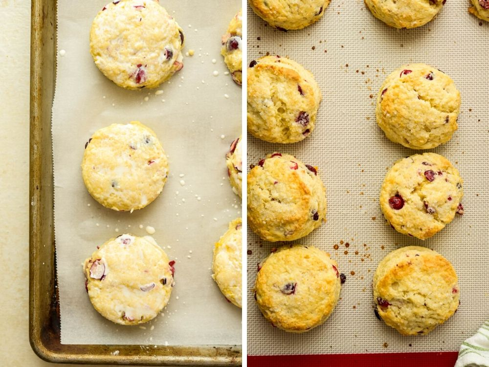 before and after baking.