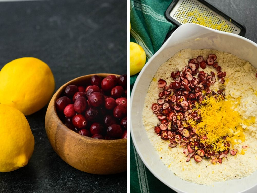 adding meyer lemons and fresh cranberries to the dry ingredients.
