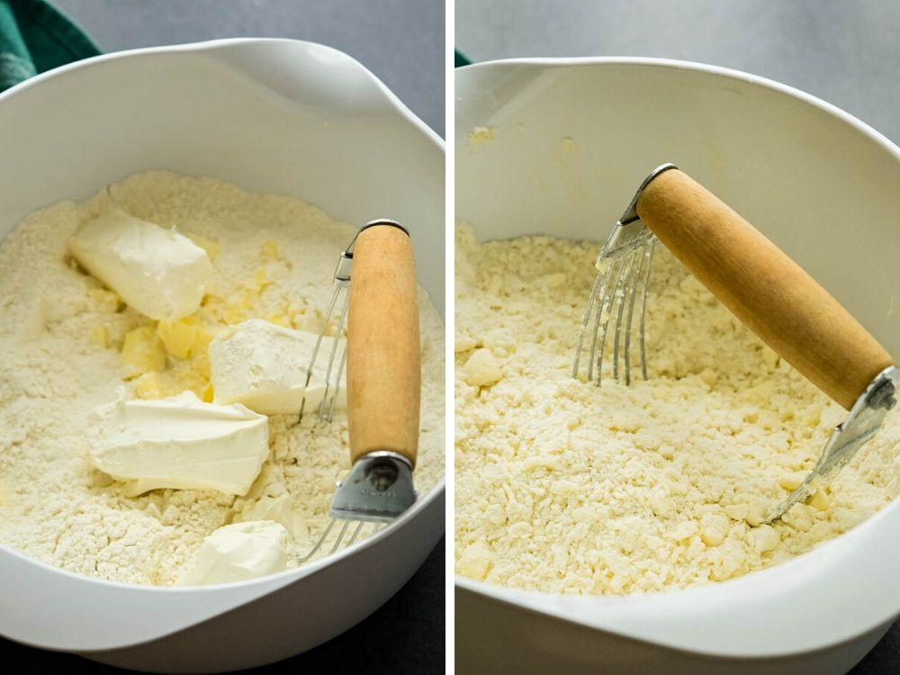 cutting dry ingredients with butter and cream cheese.