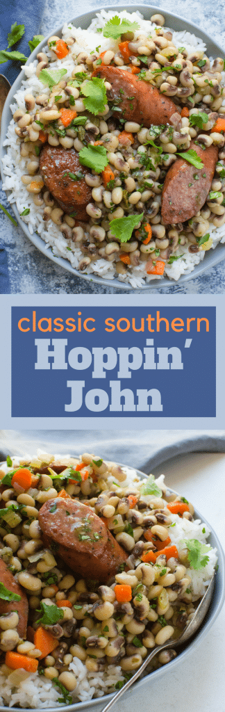 Need a recipe for New Year's black eyed peas? This classic Southern Hoppin' John is easy to make and ready in under an hour! Serve with rice for luck and money all year long! #blackeyedpeas #newyearsday #newyearsgoodluckfood #newyearstraditionalfoods #superstition #legumes #kielbasa #sausage #cumin #cilantro #howtomakeblackeyedpeas #easyhoppinjohn #authentichoppinjohnrecipe #hoppinjohn #comfortfood #healthydinners #easydinners #feedsacrowd #fastdinner #quickdinner