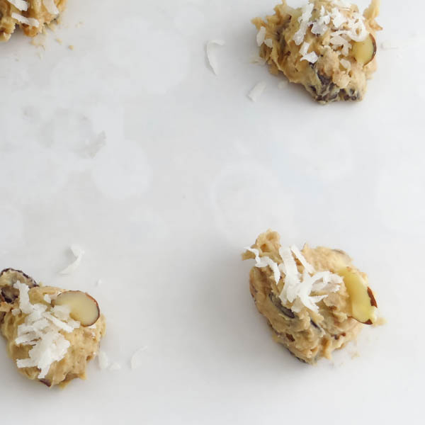 cookie dough on a baking sheet.