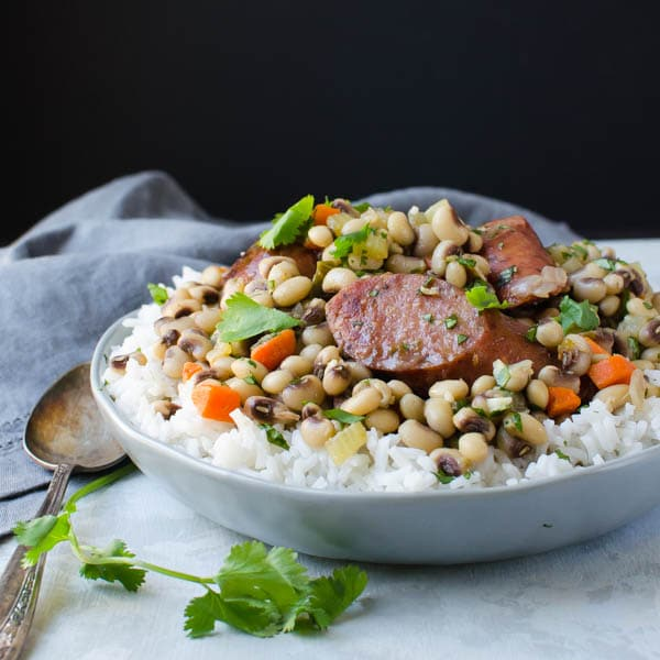 Hoppin John with a spoon.