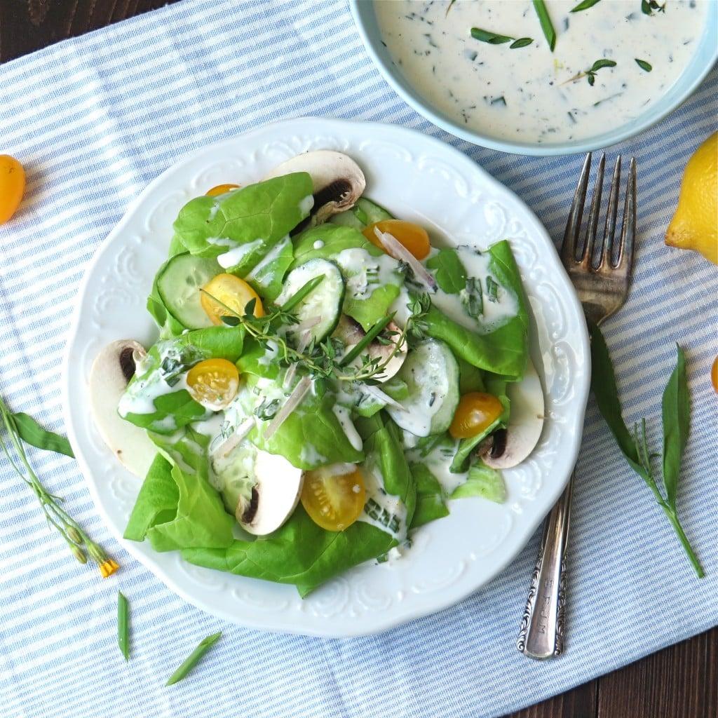 Lemon Herb Buttermilk Dressing over salad