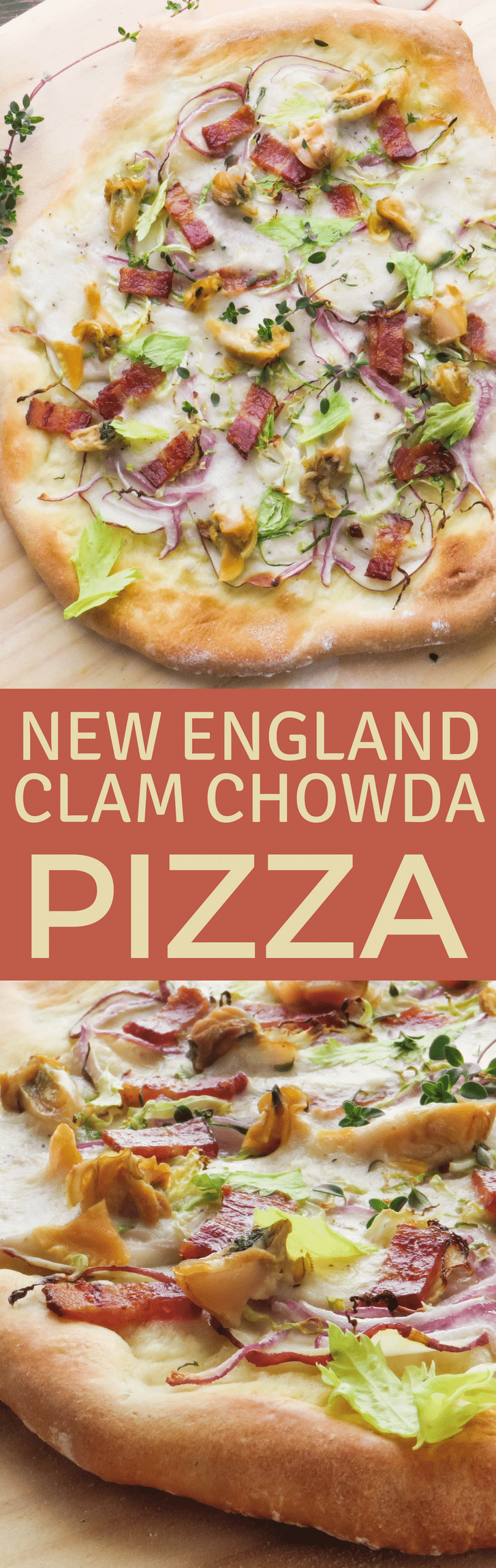 A twist on clam chowder, New England Clam Chowda Pizza has all the goodness of the classic chowder on a piping hot crust! Fresh clams, bacon and potatoes add authentic flavor. #pizzarecipe #newenglandclamchowder #clamchowderpizza #chowder #seafoodpizza #clampizza #bacon #potatoes #homemadepizza #whitepizza #potatoes #celeryleaves #redonions #seafood #shellfish #littleneckclams #middleneckclams #seafoodbechamel #seafoodsauce