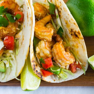Tangy Garlic Lime Shrimp Tacos