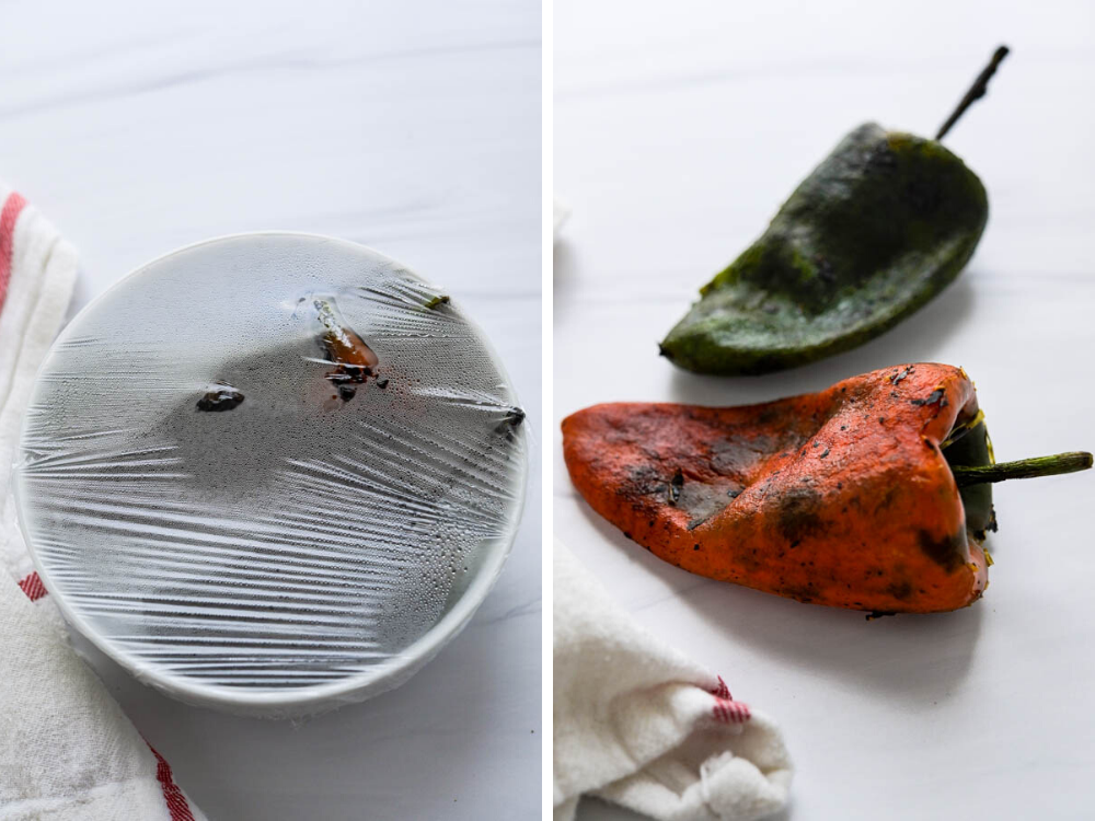 steaming the charred poblano peppers and removing the blackened skin.