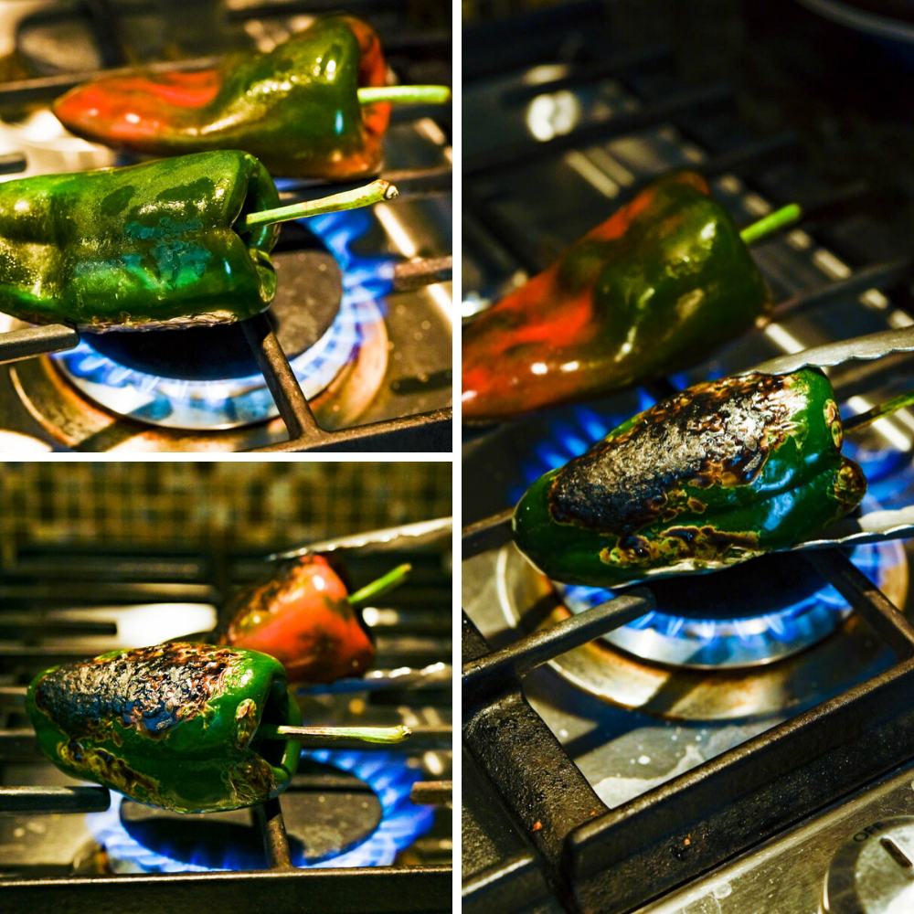 fire roasting poblano peppers over a gas stovetop for the salsa.