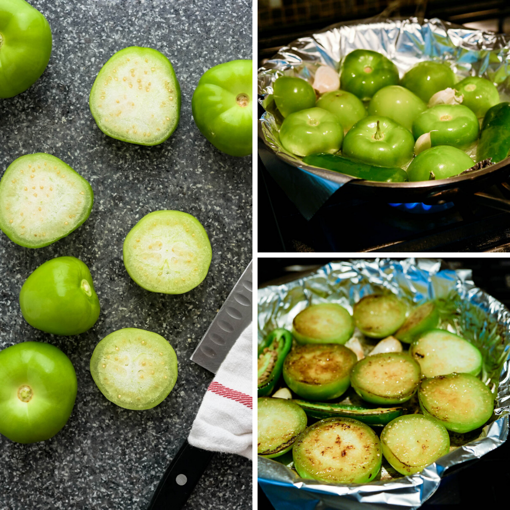 cooking tomatillos, jalapeños and garlic on the stovetop.