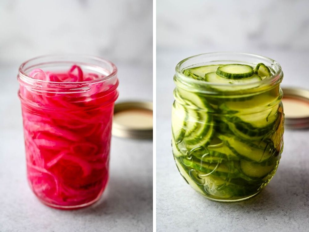 pink pickled onions and pickled cucumbers are delicious add ons for the best tailgate food.