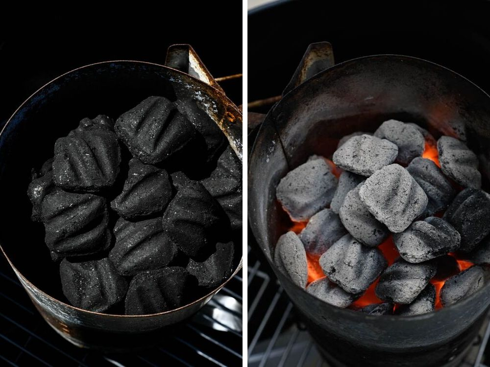 coals before lighting and when they're burning embers. Kingsford charcoal has ridges for the best tailgate food.