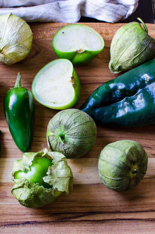 tomatillos, poblanos and jalapeños for the fire roasted salsa