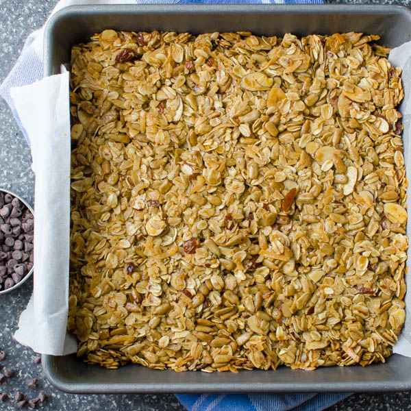 baked granola with chocolate chips