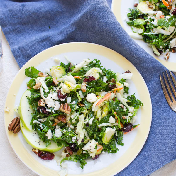 Crunchy Cabbage and Kale Salad on a napkin