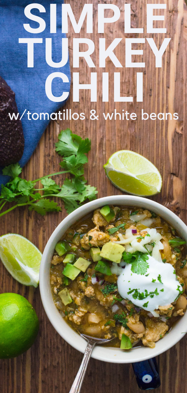 If you want a white bean chili recipe, this Tomatillo Turkey Chili is super easy to make and perfect game for game day snacking!