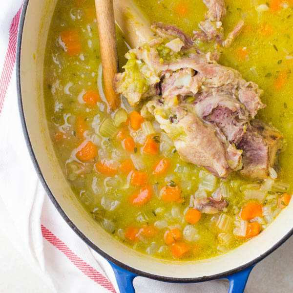 cooked ham bone split pea soup after simmering.