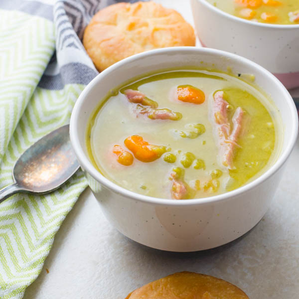 homemade split pea soup with muffins.