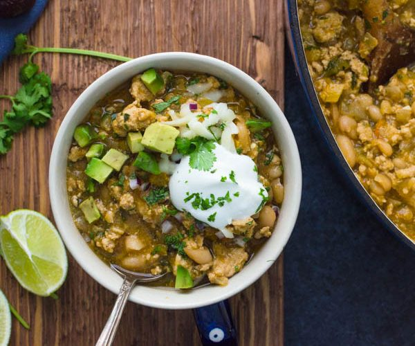 Simple Turkey Chili with Tomatillos, White Beans and hatch chiles.