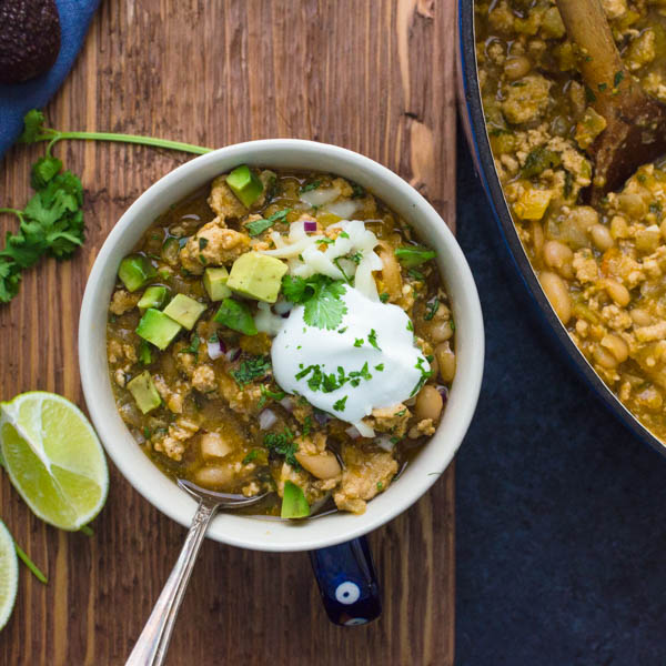 Simple Turkey Chili with Tomatillos and White Beans
