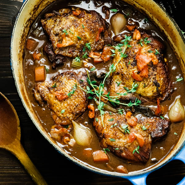 Coq Au Vin For Two Chicken In Red Wine Sauce Garlic Zest