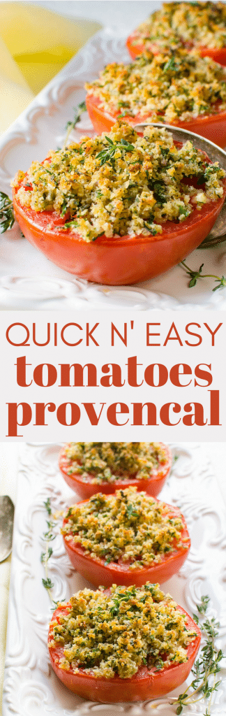 Need an easy vegetarian side dish? Tomatoes Provencal is simple enough for everyday and fancy enough for company. Whether you're looking for Spring sides or sides for Easter dinner, this dish is scaleable for any number of people. #roastedtomatoes #tomatoes #bakedtomatoes #tomatoesprovencal #provencaltomatoes #breadcrumbs #herbs #bakedtomatoeswithbreadcrumbs #herbedbreadcrumbs #garlic #shallots #redpepperflakes #dairyfree #vegansides #vegetariansides