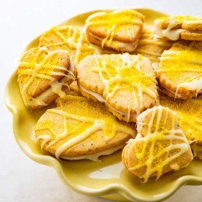 Lemon Poppyseed Heart Shaped Sandwich Cookies