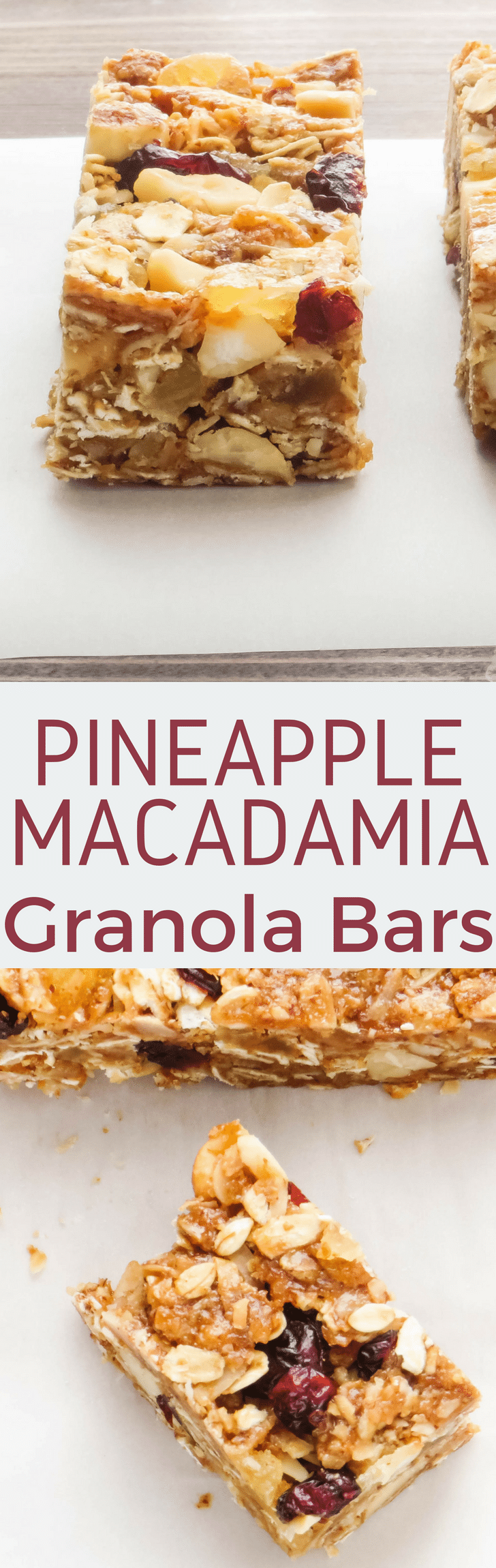 Love granola bars? Pineapple Macadamia Granola Bars are a deliciously tropical treat! With whole oats, wheat germ and coconut, these wholesome granola bars are an easy-to-make, satisfying breakfast or snack option. #granola #granolabars #coconutgranolabars #macadamiagranola #cranberrygranola #pineapplegranola #brunch #breakfast #snacks #homemadegranola #easygranola #granolafromscratch #granolabarrecipe