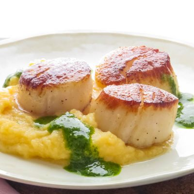 Seared Diver Scallops with Root Vegetable Mash