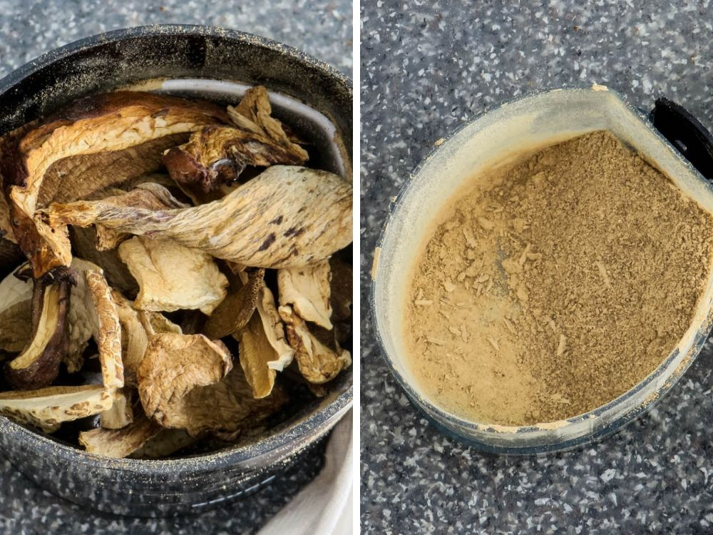 Making porcini mushroom powder for wine sauce.