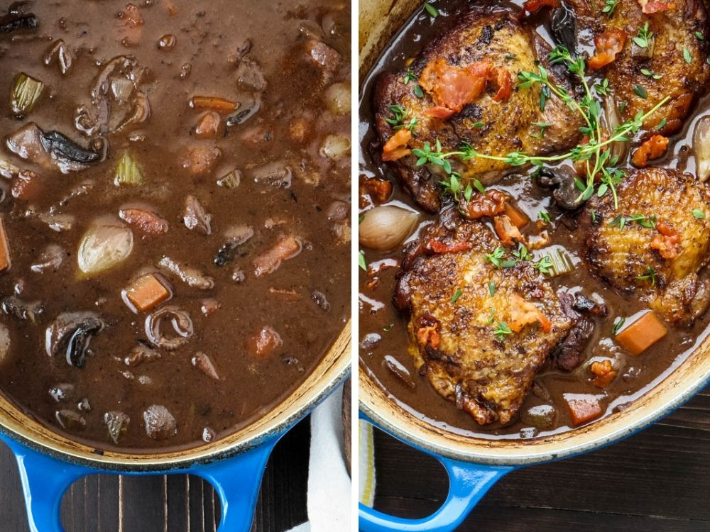 finishing the Coq Au Vin for two with fresh herbs.