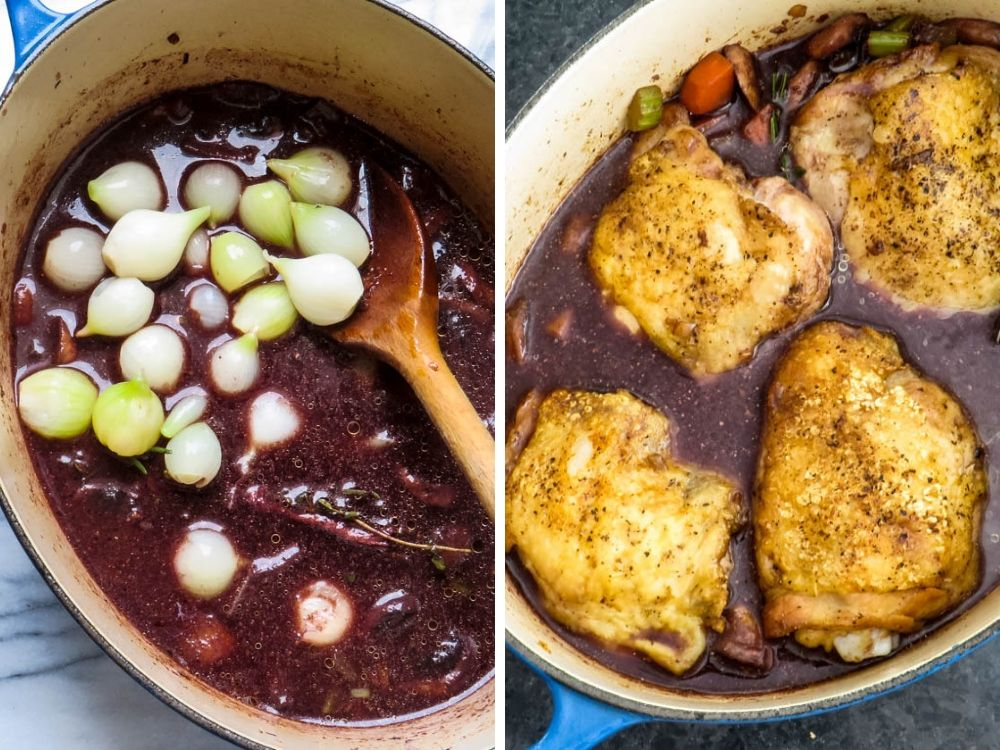 adding pearl onions and chicken thighs back to the pot.