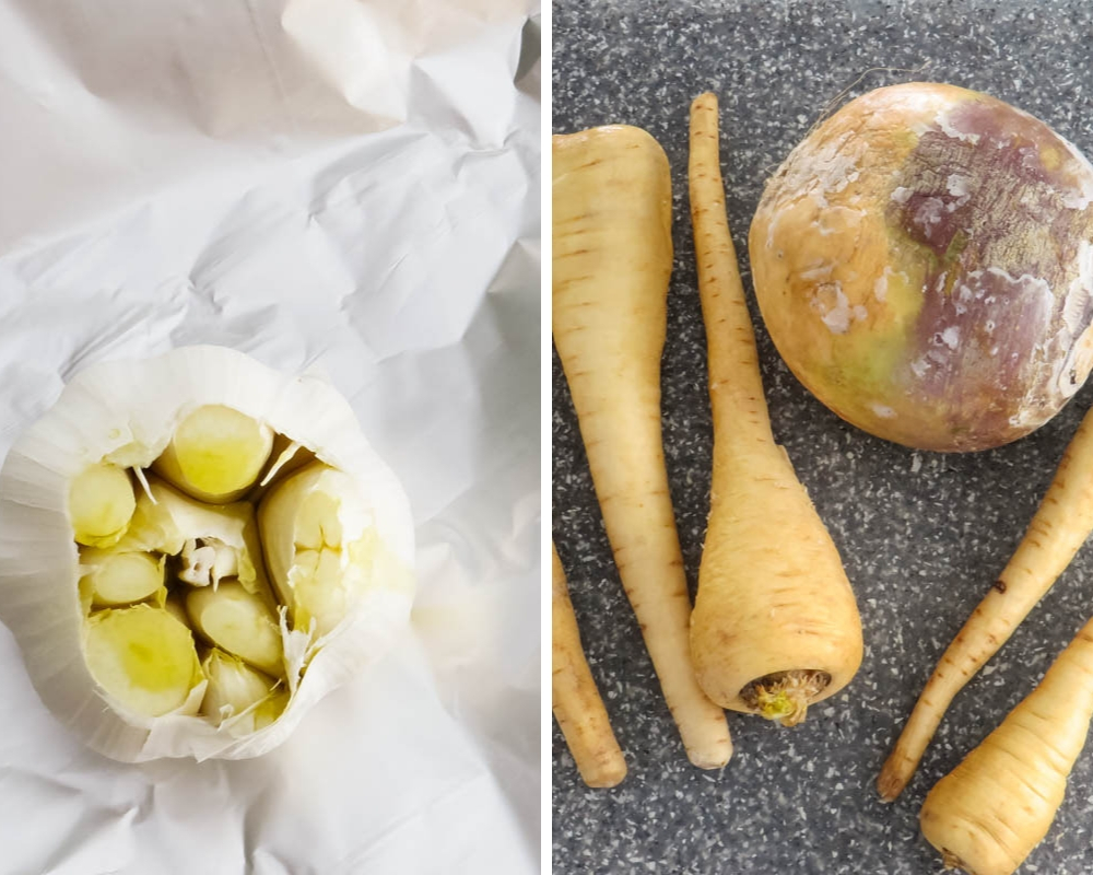 whole head of garlic to roast and parsnips and rutabaga to prep.