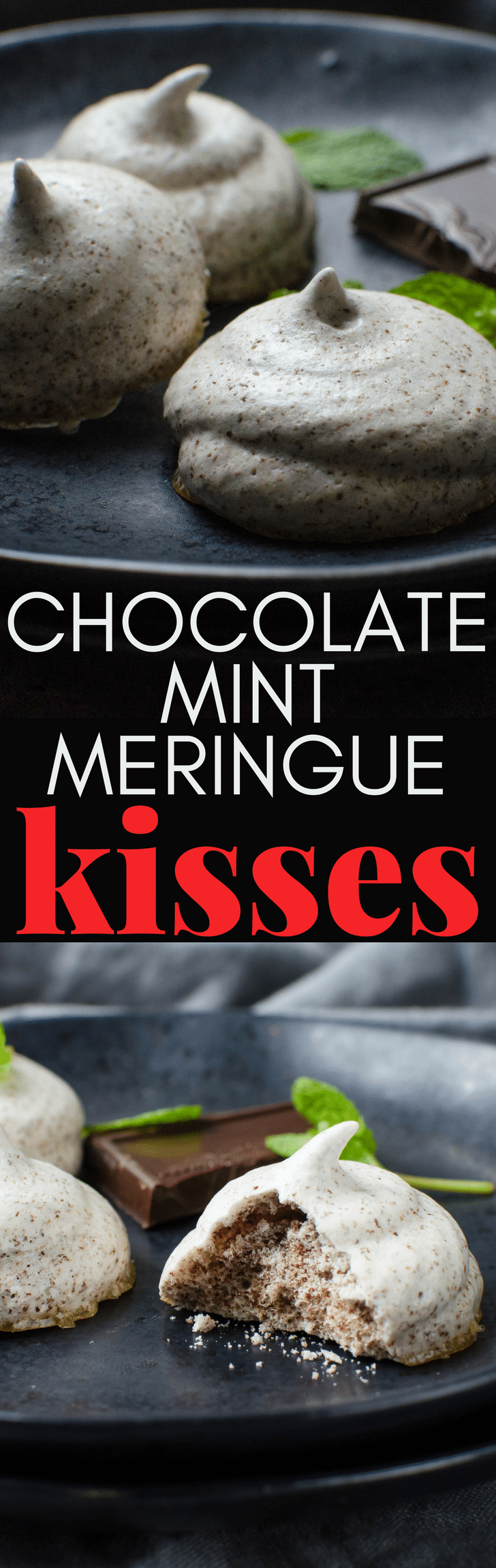 Looking for a guilt-free cookie recipe? These Chocolate Mint Meringue Kisses are 100 calories for 5! Flecked with dark chocolate and a hint of mint, these crispy treats are delicious. #meringues #cookies #guiltfreecookies #guiltfreesnack #eggwhites #meringue #chocolate #mint #chocolatemint #lowcaloriecookie #lowcaloriesnack #valentinescookies #valentinesday #valentine #christmasdessert #newyearsevebites #chocolatemintcookie