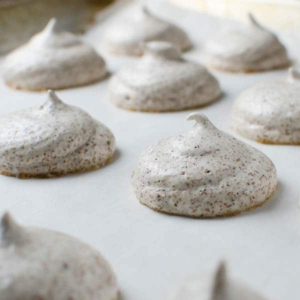 meringues on parchment.