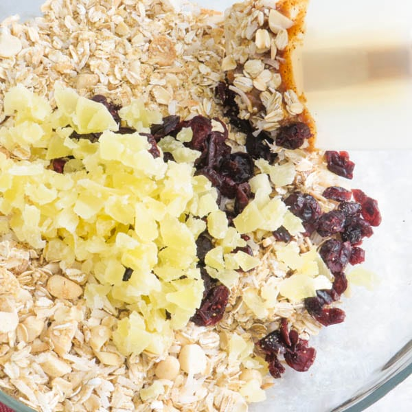 oats, wheat germ, pineapple and cranberries.