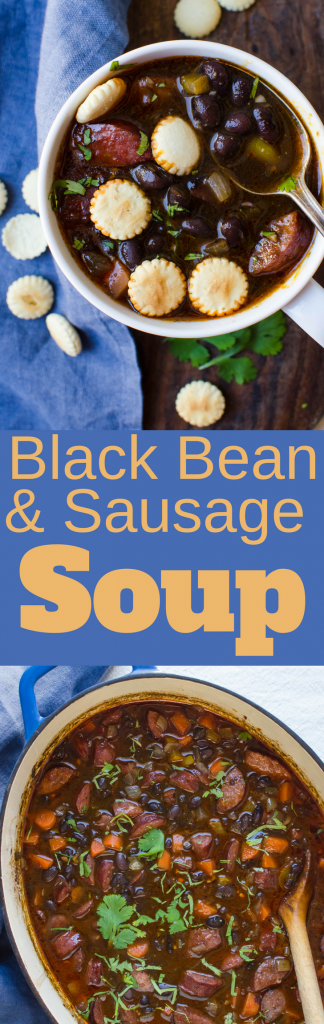 No ordinary sausage bean soup is this! This easy black bean soup recipe feeds a crowd and is hearty and delicious. Black bean and sausage soup has big chunks of kielbasa and a cumin and chile spiked bean broth. #driedbeans #driedbeansoup #blackbeans #driedblackbeans #blackbeansoup #blackbeansouprecipe #kielbasa #sausagebeansoup #beansausagesoup #homemadebeansoup
