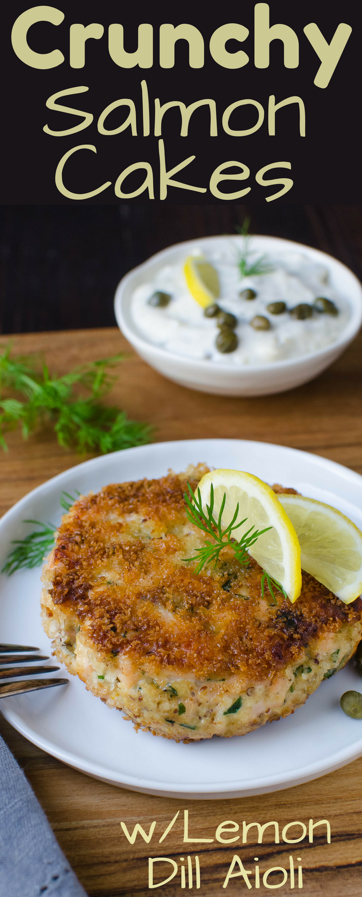 Easy Crunchy Salmon Cakes have a panko breading with both fresh and smoked salmon for depth. Top with fresh lemon dill aioli!  Best salmon cake recipe EVER!