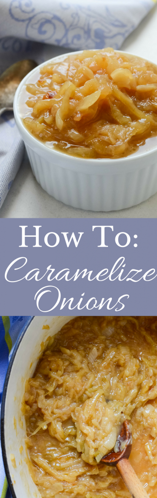 This easy recipe gives step by step instructions on How To Caramelize Onions and different ways to use them! They're sweet and delicious - naturally vegan and gluten free!