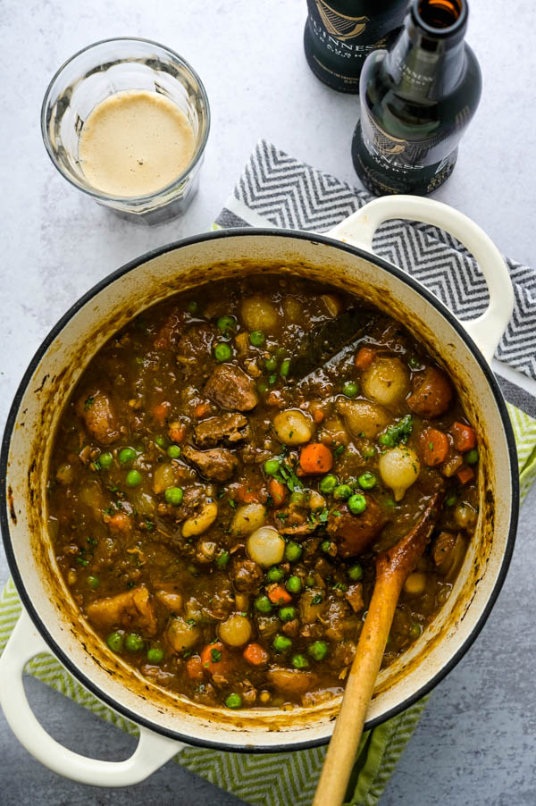 a pot of slow cooked lamb stew with Guinness Irish Stout.