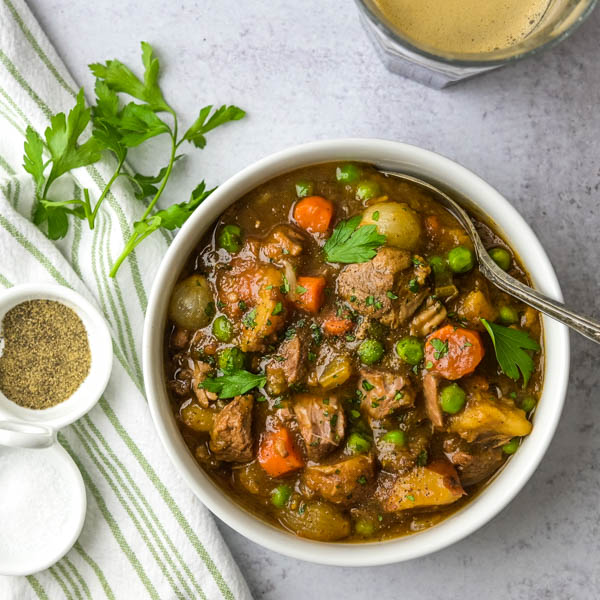 Irish Stout Lamb Stew Garlic Zest