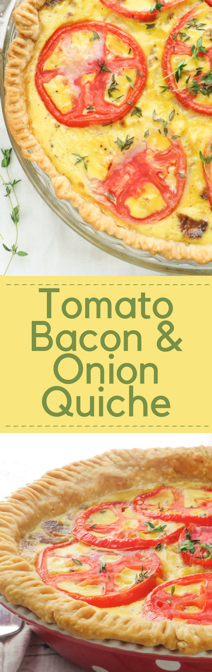 Need a quiche recipe that feeds a crowd?  Tomato Bacon and Onion Quiche makes two pies and is perfect for breakfast or brunch and holiday entertaining!