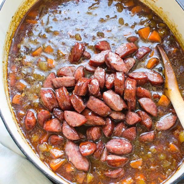 adding kielbasa to Black Bean and Sausage Soup