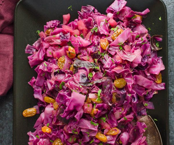 Sweet and Sour Red Cabbage with Apples and Raisins