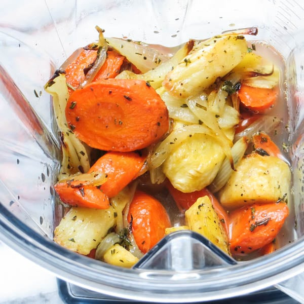 roasted vegetables in a blender.