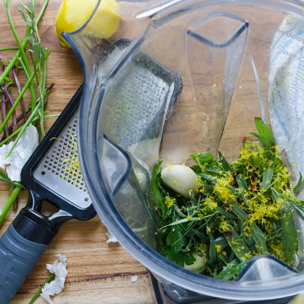 herbs, garlic and lemon zest in a blender.
