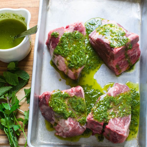 drizzling lamb chops with mint chimichurri