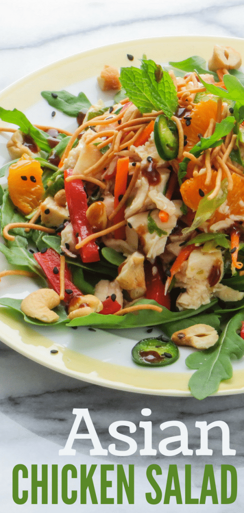 Do you love crunchy Asian salads? My Asian Chicken Salad has crunchy vegetables, sweet mandarins and Asian ginger dressing. A yummy, healthy summer meal. #crunchyasiansalad #asiansalad #chickensalad #gingerlimedressing #asiangingerdressing #mandarins #chicken #chowmein #hoisin #ginger #chinesechickensalad #healthysummermeals #healthysaladrecipes #arugula #bellpeppers #homemadedressing #asiandressing